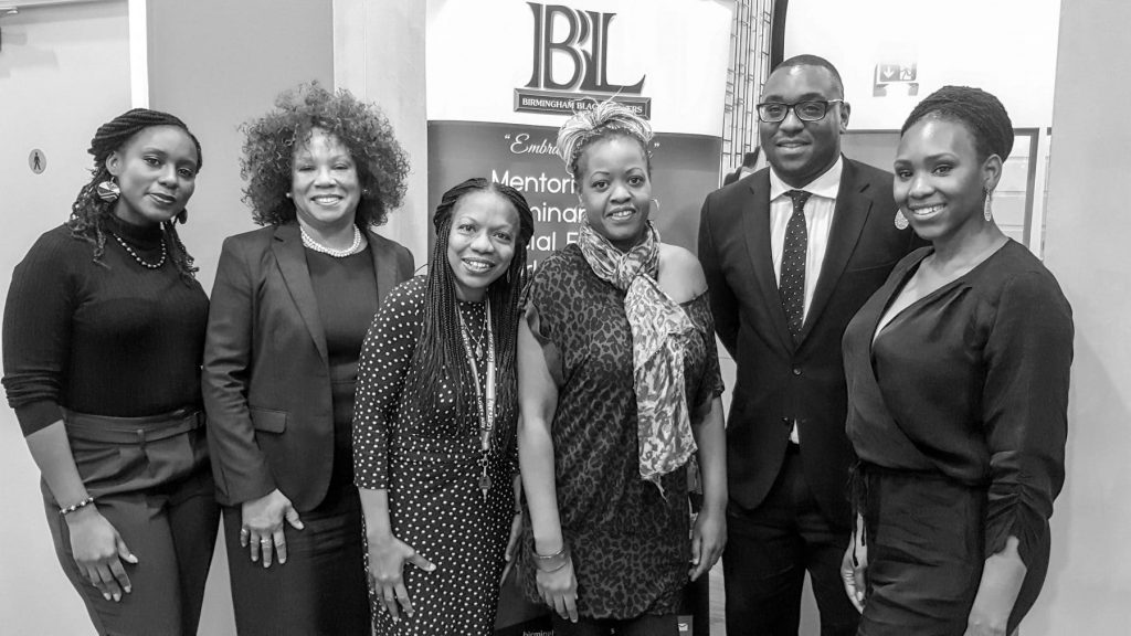From left to right; Kishma Bolaji (BBL & Shoosmiths LLP), Karen Bailey ( Bailey Wright & Co), Dawn Brathwaite ( Mills & Reeves, sponsors of the event), Annette Fagon (Comedian & host for the evening), Nathan Miebai (CPS) & Tamina Greaves (BBL & CPS)